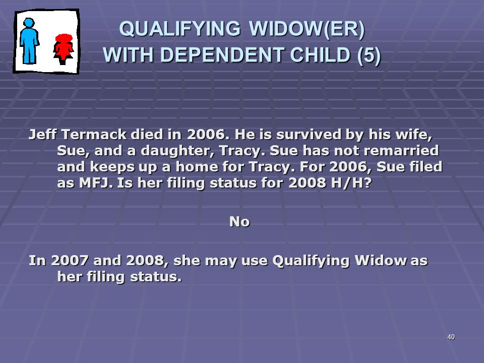 40 QUALIFYING WIDOW(ER) WITH DEPENDENT CHILD (5) Jeff Termack died in 2006. He is survived by his wife, Sue, and a daughter, Tracy. Sue has not remarr