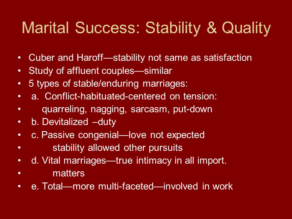 Marital Success: Stability & Quality Cuber and Haroff—stability not same as satisfaction Study of affluent couples—similar 5 types of stable/enduring marriages: a.