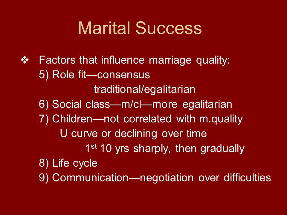 Marital Success  Factors that influence marriage quality: 5) Role fit—consensus traditional/egalitarian 6) Social class—m/cl—more egalitarian 7) Children—not correlated with m.quality U curve or declining over time 1 st 10 yrs sharply, then gradually 8) Life cycle 9) Communication—negotiation over difficulties