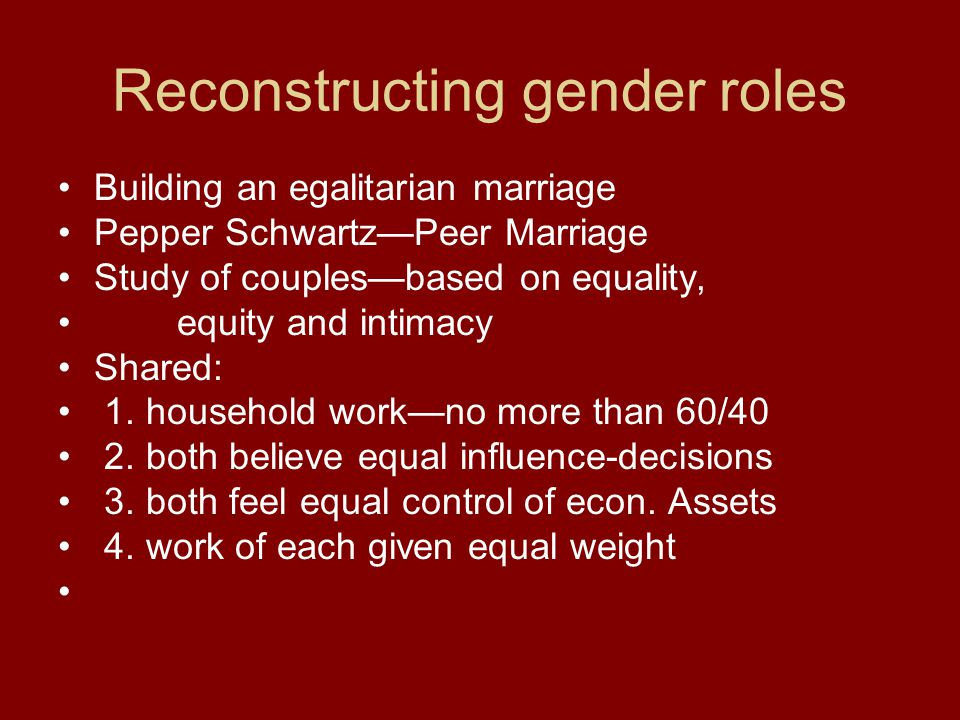 Reconstructing gender roles Building an egalitarian marriage Pepper Schwartz—Peer Marriage Study of couples—based on equality, equity and intimacy Shared: 1.