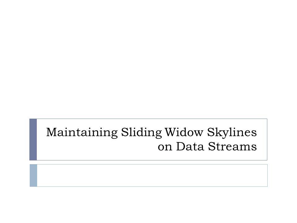 Maintaining Sliding Widow Skylines on Data Streams