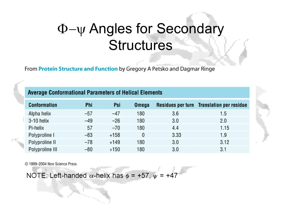  Angles for Secondary Structures NOTE: Left-handed  -helix has  = +57,  = +47