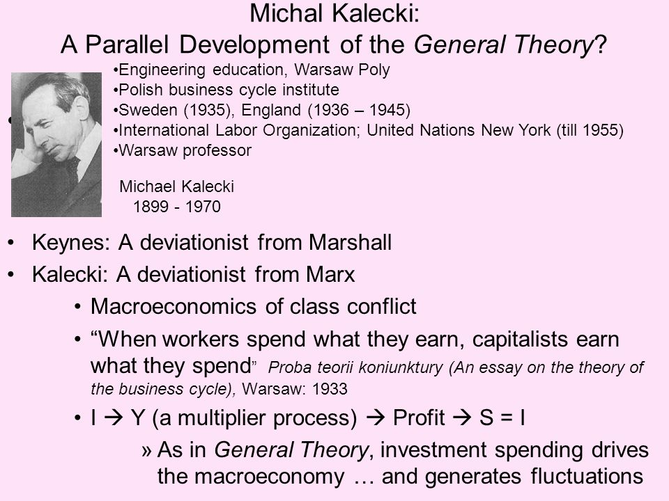 Michal Kalecki: A Parallel Development of the General Theory.