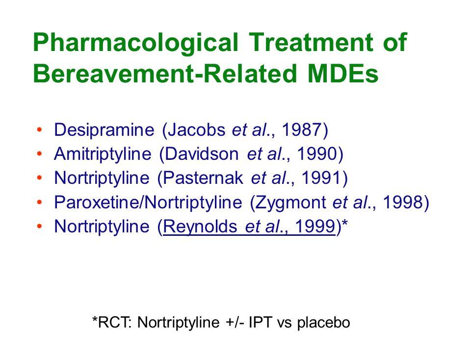 Pharmacological Treatment of Bereavement-Related MDEs Desipramine (Jacobs et al., 1987) Amitriptyline (Davidson et al., 1990) Nortriptyline (Pasternak et al., 1991) Paroxetine/Nortriptyline (Zygmont et al., 1998) Nortriptyline (Reynolds et al., 1999)* *RCT: Nortriptyline +/- IPT vs placebo