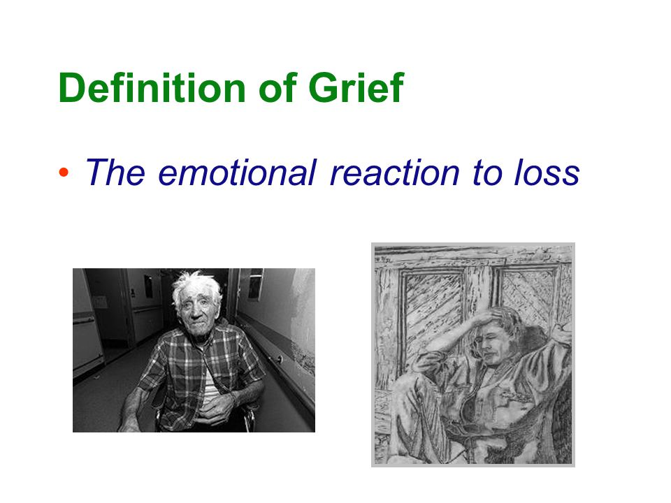Definition of Grief The emotional reaction to loss