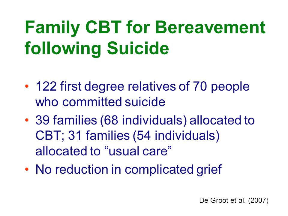 Family CBT for Bereavement following Suicide 122 first degree relatives of 70 people who committed suicide 39 families (68 individuals) allocated to C