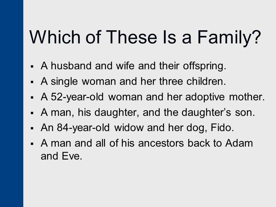 Which of These Is a Family. A husband and wife and their offspring.
