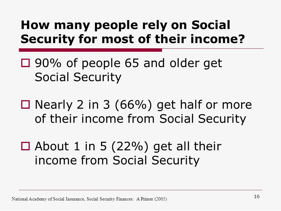 16 How many people rely on Social Security for most of their income.