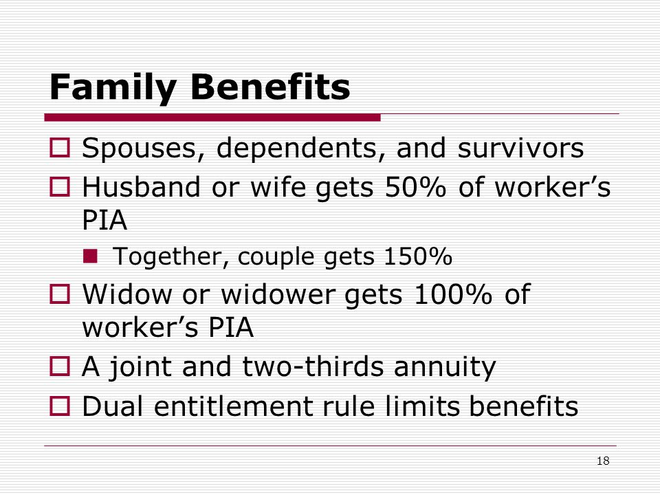 18 Family Benefits  Spouses, dependents, and survivors  Husband or wife gets 50% of worker's PIA Together, couple gets 150%  Widow or widower gets 100% of worker's PIA  A joint and two-thirds annuity  Dual entitlement rule limits benefits