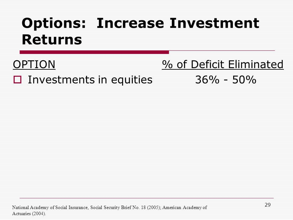 29 Options: Increase Investment Returns OPTION  Investments in equities % of Deficit Eliminated 36% - 50% National Academy of Social Insurance, Social Security Brief No.