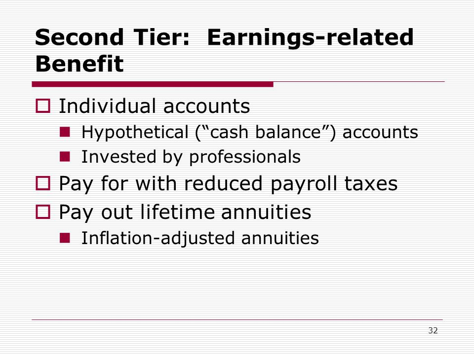 32 Second Tier: Earnings-related Benefit  Individual accounts Hypothetical ( cash balance ) accounts Invested by professionals  Pay for with reduced payroll taxes  Pay out lifetime annuities Inflation-adjusted annuities