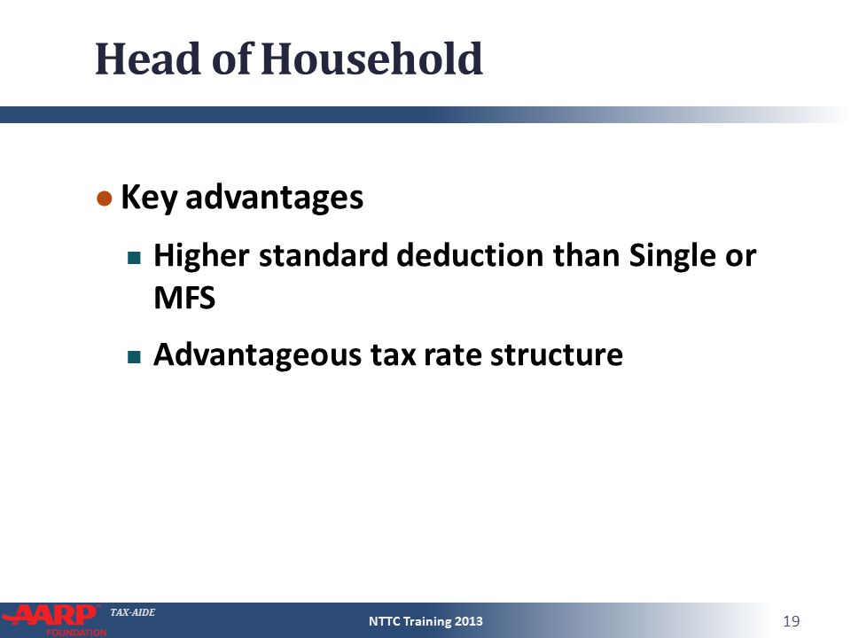TAX-AIDE Head of Household ● Key advantages Higher standard deduction than Single or MFS Advantageous tax rate structure NTTC Training 2013 19