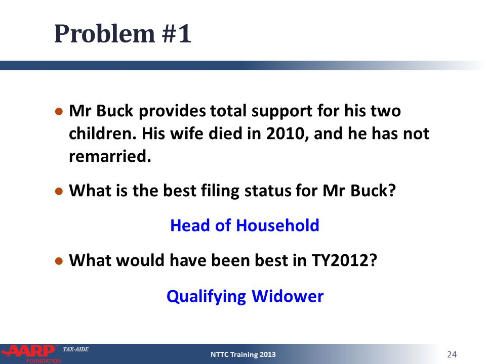 TAX-AIDE Problem #1 ● Mr Buck provides total support for his two children.