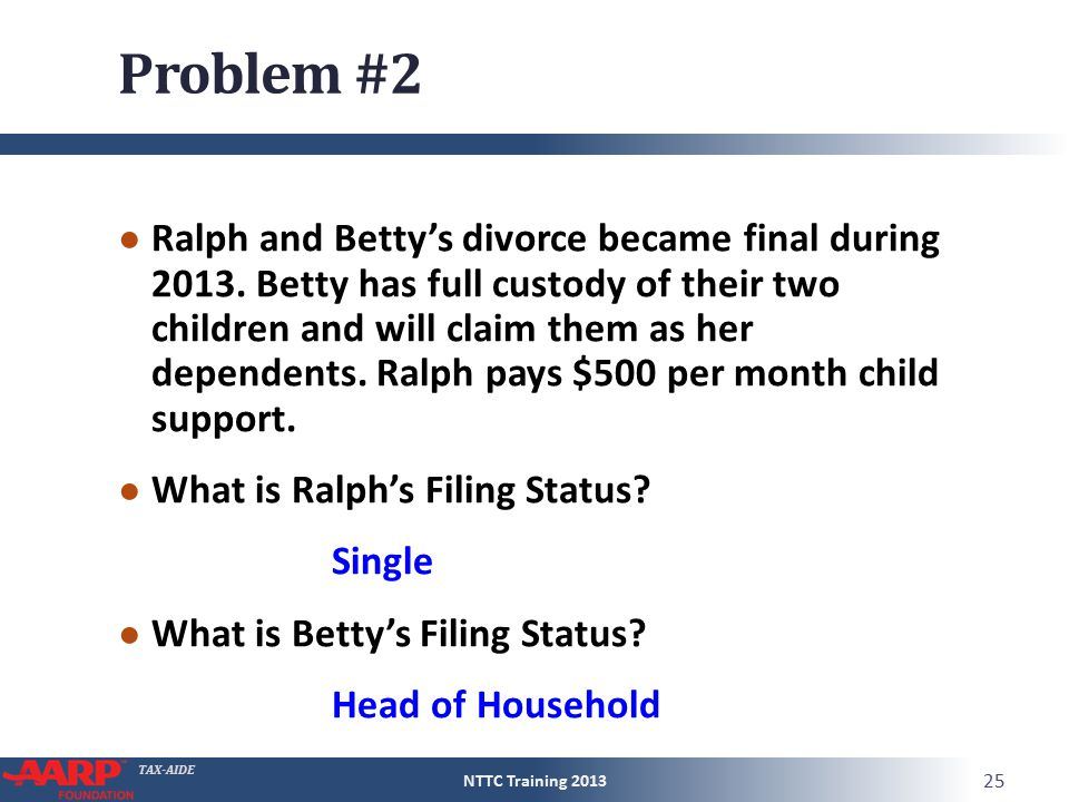 TAX-AIDE Problem #2 ● Ralph and Betty's divorce became final during 2013.