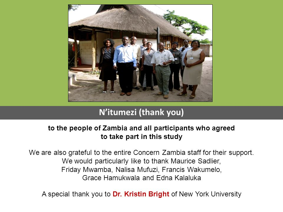 to the people of Zambia and all participants who agreed to take part in this study We are also grateful to the entire Concern Zambia staff for their support.