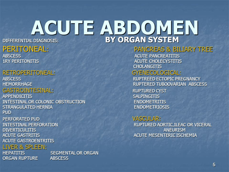 5 ACUTE ABDOMEN DIFFERENTIAL DIAGNOSIS: BY ORGAN SYSTEM PERITONEAL : PANCREAS & BILIARY TREE ABSCESS ACUTE PANCREATITIS 1RY PERITONITIS ACUTE CHOLECYSTITIS CHOLANGITIS CHOLANGITIS RETROPERITONEAL: GYENECOLOGICAL: ABSCESS RUPTREED ECTOPIC PREGNANCY HEMORRHAGE RUPTERED TUBOOVARIAN ABSCESS GASTROINTESINAL: RUPTURED CYST APPENDICITIS SALPINGITIS INTESTINAL OR COLONIC OBSTRUCTION ENDOMETRITIS STRANGULATED HERNIA ENDOMETRIOSIS PUD PERFORATED PUD VASCULAR: INTESTINAL PERFORATION RUPTURED AORTIC,ILEAC OR VICERAL DIVERTICULITIS ANEURISM ACUTE GASTRITIS ACUTE MESENTERIC ISCHEMIA ACUTE GASTROENTRITIS LIVER & SPLEEN: HEPATITIS SEGMENTAL OR ORGAN ORGAN RUPTURE ABSCESS