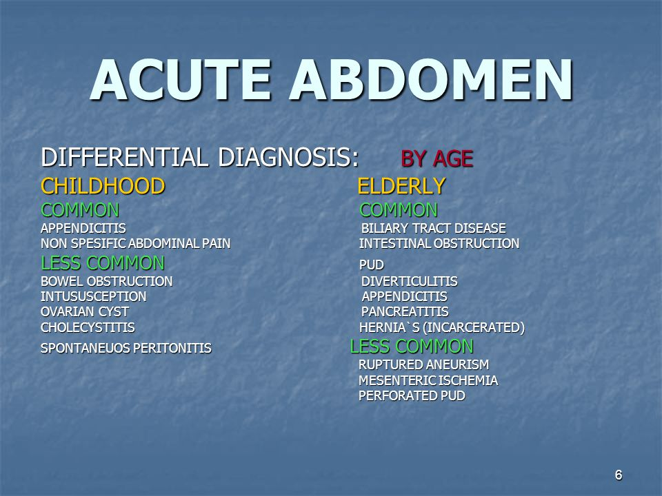 6 ACUTE ABDOMEN DIFFERENTIAL DIAGNOSIS: BY AGE CHILDHOOD ELDERLY COMMON COMMON APPENDICITIS BILIARY TRACT DISEASE NON SPESIFIC ABDOMINAL PAIN INTESTINAL OBSTRUCTION LESS COMMON PUD BOWEL OBSTRUCTION DIVERTICULITIS INTUSUSCEPTION APPENDICITIS OVARIAN CYST PANCREATITIS CHOLECYSTITIS HERNIA`S (INCARCERATED) SPONTANEUOS PERITONITIS LESS COMMON RUPTURED ANEURISM RUPTURED ANEURISM MESENTERIC ISCHEMIA MESENTERIC ISCHEMIA PERFORATED PUD PERFORATED PUD