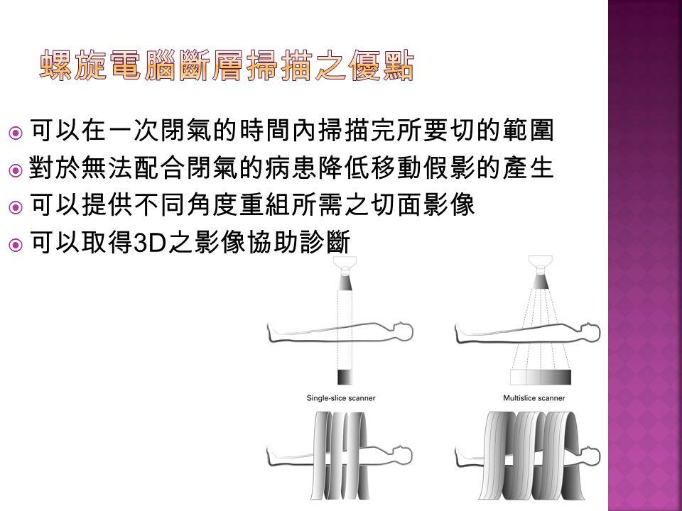  可以在一次閉氣的時間內掃描完所要切的範圍  對於無法配合閉氣的病患降低移動假影的產生  可以提供不同角度重組所需之切面影像  可以取得 3D 之影像協助診斷