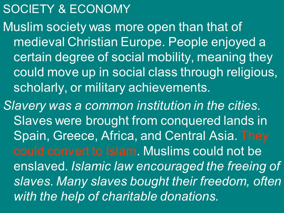 SOCIETY & ECONOMY Muslim society was more open than that of medieval Christian Europe. People enjoyed a certain degree of social mobility, meaning the