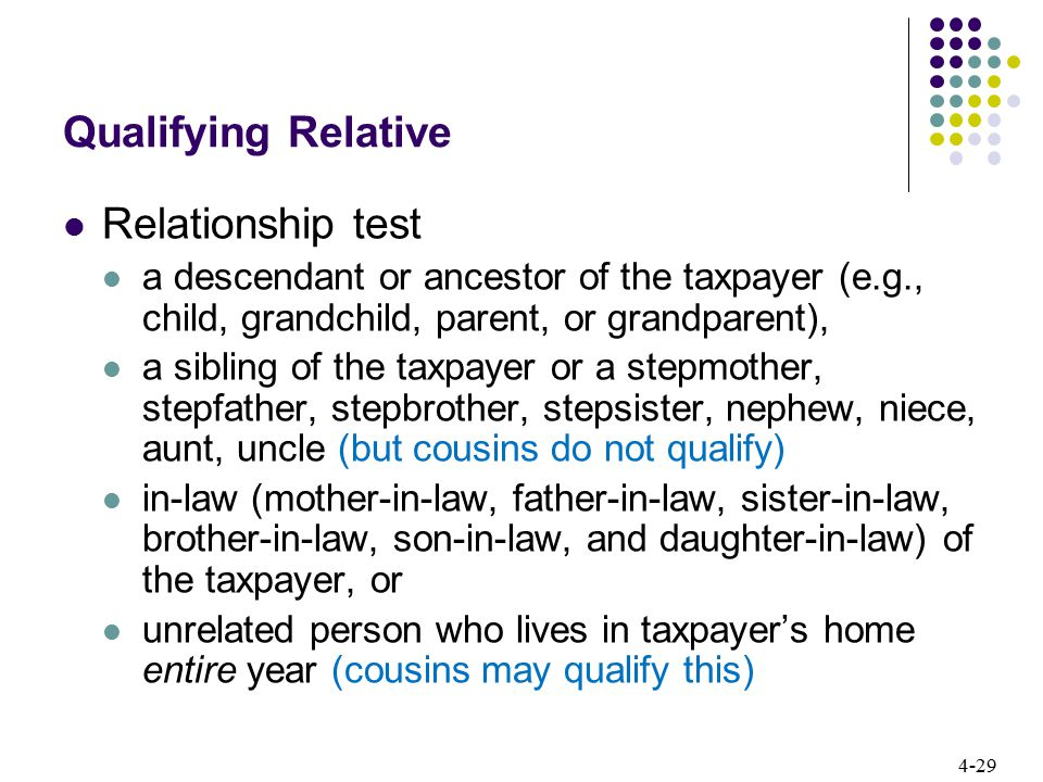 4-29 Qualifying Relative Relationship test a descendant or ancestor of the taxpayer (e.g., child, grandchild, parent, or grandparent), a sibling of th