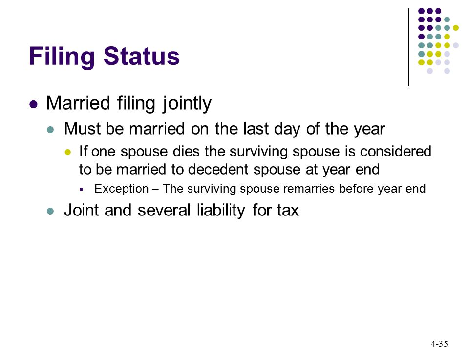 4-35 Filing Status Married filing jointly Must be married on the last day of the year If one spouse dies the surviving spouse is considered to be marr