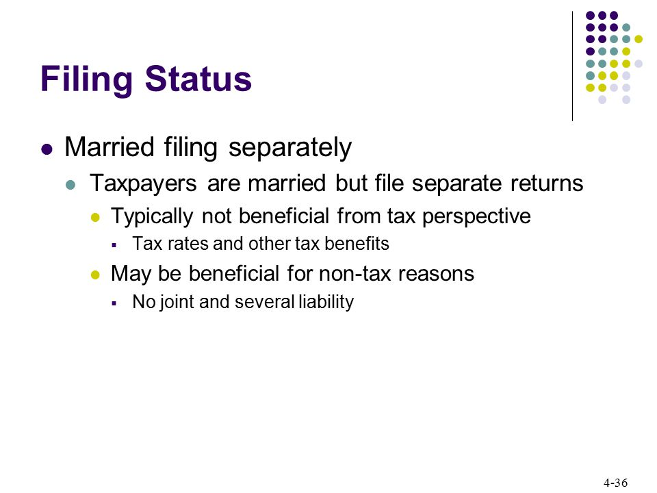 4-36 Filing Status Married filing separately Taxpayers are married but file separate returns Typically not beneficial from tax perspective  Tax rates