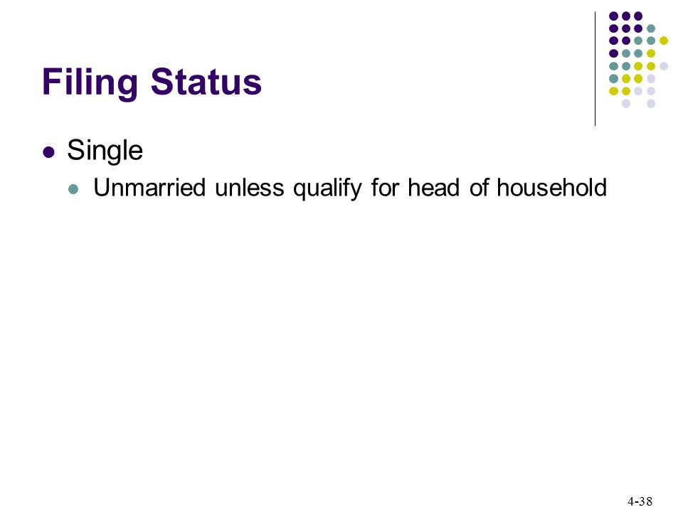 4-38 Filing Status Single Unmarried unless qualify for head of household