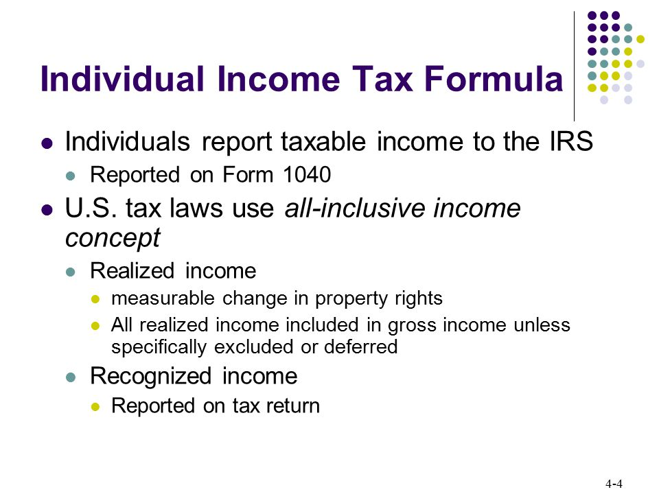 4-5 Individual Income Tax Formula Excluded and Deferred income not included in gross income Excluded income Income never included in taxable income Municipal bond interest Gain on sale of personal residence Deferred income Income included in a subsequent tax year Installment sales Like-kind exchanges