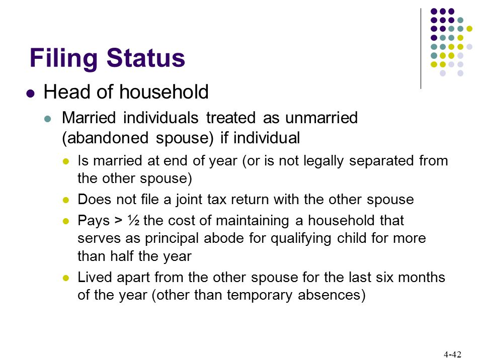 4-42 Filing Status Head of household Married individuals treated as unmarried (abandoned spouse) if individual Is married at end of year (or is not le