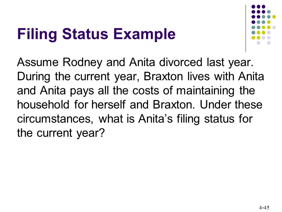 4-45 Filing Status Example Assume Rodney and Anita divorced last year. During the current year, Braxton lives with Anita and Anita pays all the costs