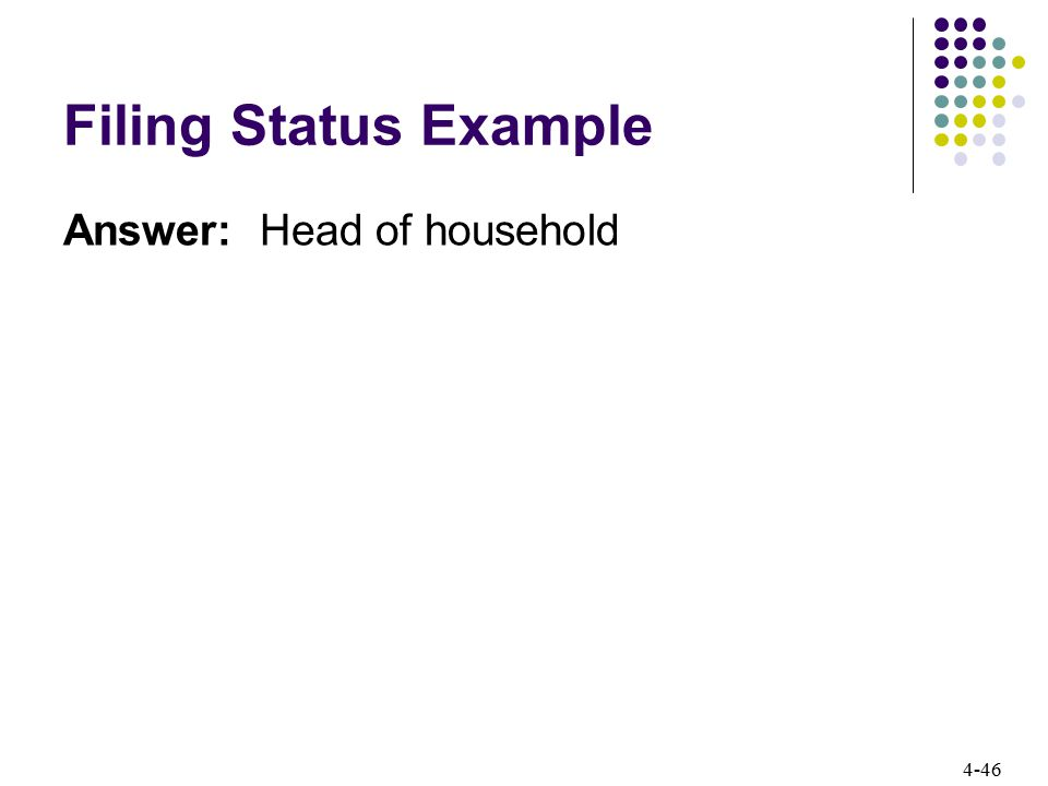 4-46 Filing Status Example Answer: Head of household