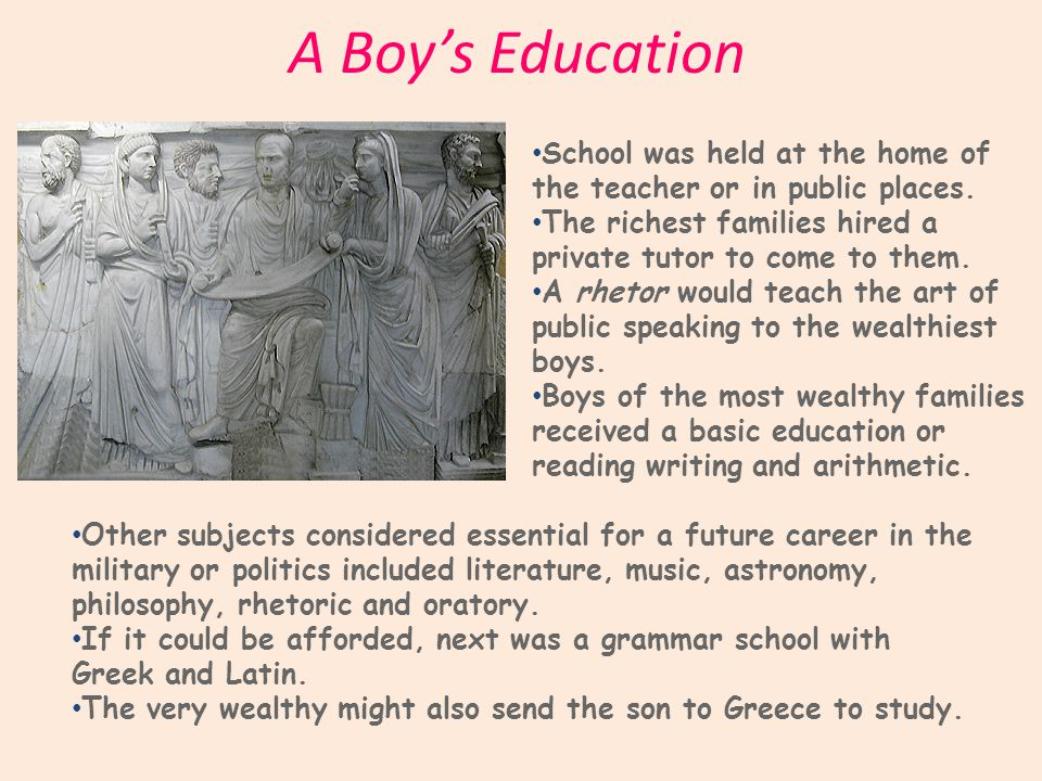 A Boy's Education School was held at the home of the teacher or in public places.