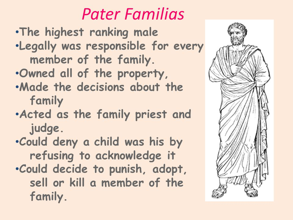 Pater Familias The highest ranking male Legally was responsible for every member of the family.