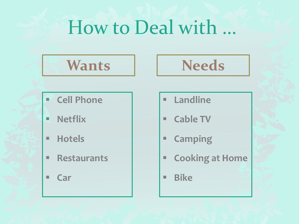 How to Deal with … Wants  Cell Phone  Netflix  Hotels  Restaurants  Car Needs  Landline  Cable TV  Camping  Cooking at Home  Bike