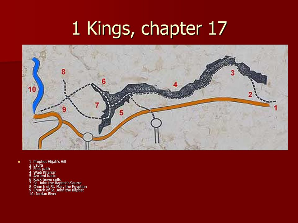1 Kings, chapter 17 1: Prophet Elijah's Hill 2: Laura 3: Foot path 4: Wadi Kharrar 5: Ancient basin 6: Rock-hewn cells 7: St. John the Baptist's Sourc