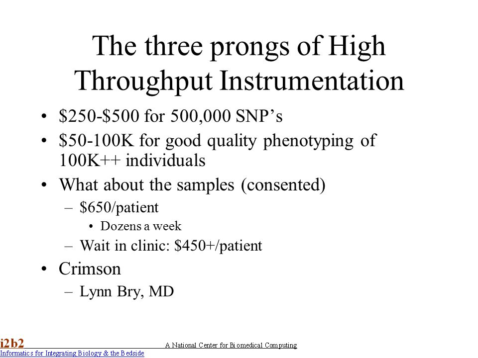 The three prongs of High Throughput Instrumentation $250-$500 for 500,000 SNP's $50-100K for good quality phenotyping of 100K++ individuals What about the samples (consented) –$650/patient Dozens a week –Wait in clinic: $450+/patient Crimson –Lynn Bry, MD