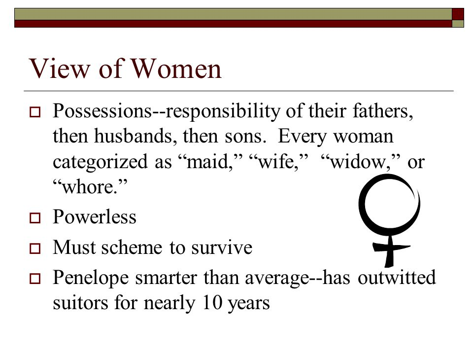 View of Women  Possessions--responsibility of their fathers, then husbands, then sons.