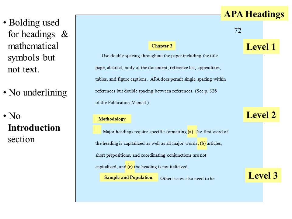 Formatting rules for the paper – no bolding, no underlining, not bullets, APA headings Use double-spacing throughout the paper including the title page, abstract, body of the document, reference list, appendixes, tables, and figure captions.
