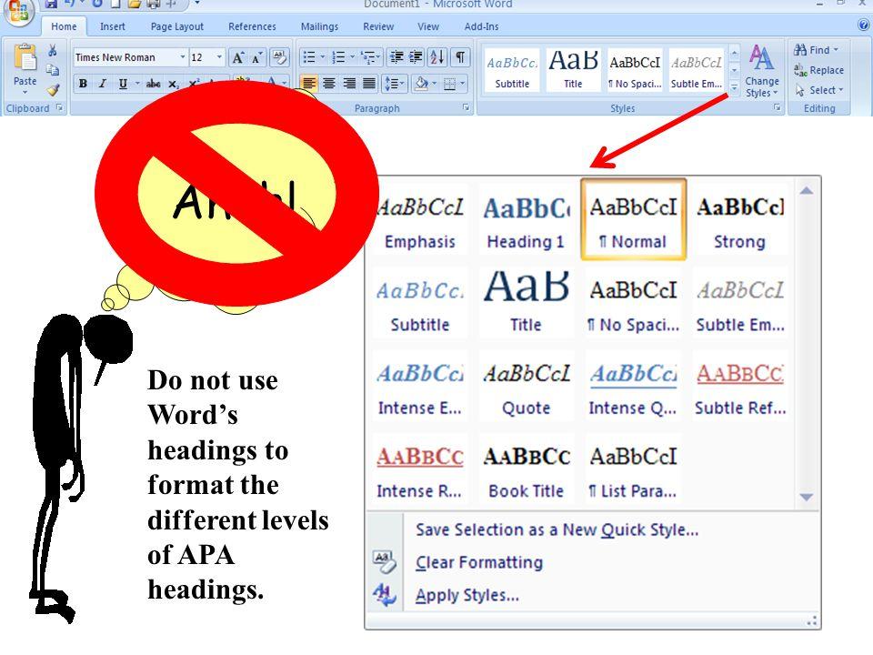 Don't use Microsoft Word headings Ahah.