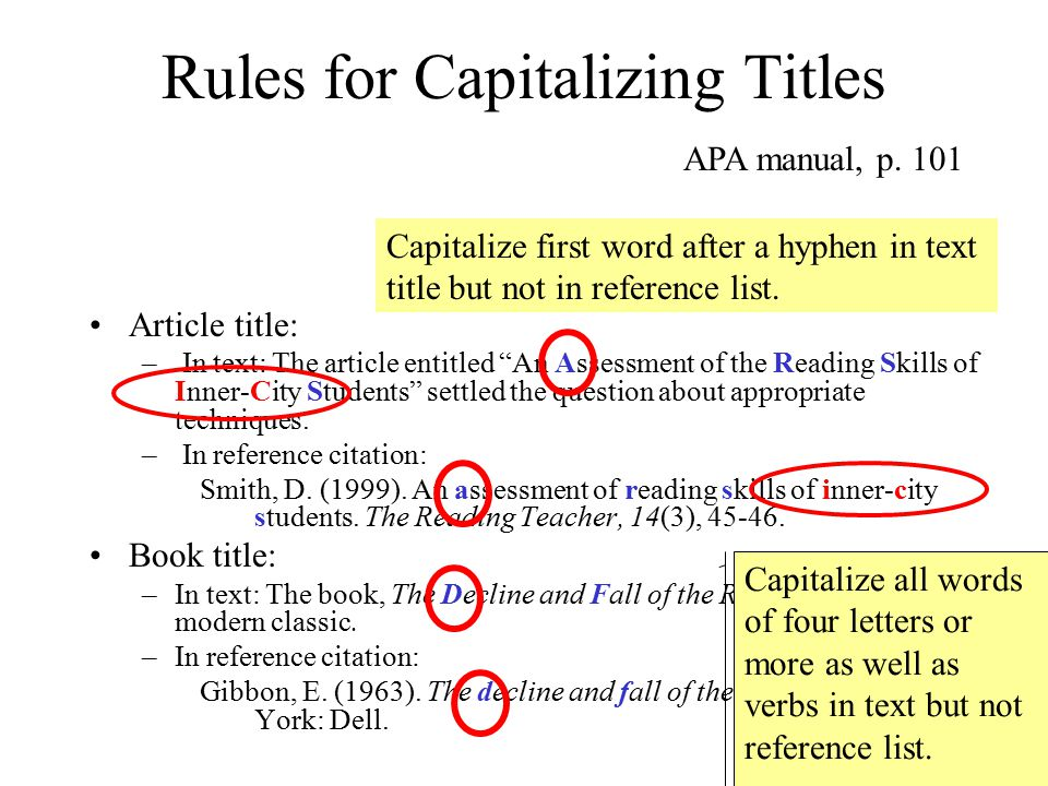 Rules for Capitalizing Titles Article title: – In text: The article entitled An Assessment of the Reading Skills of Inner-City Students settled the question about appropriate techniques.