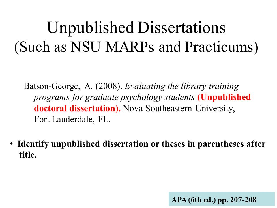 Unpublished Dissertations (Such as NSU MARPs and Practicums) Batson-George, A.