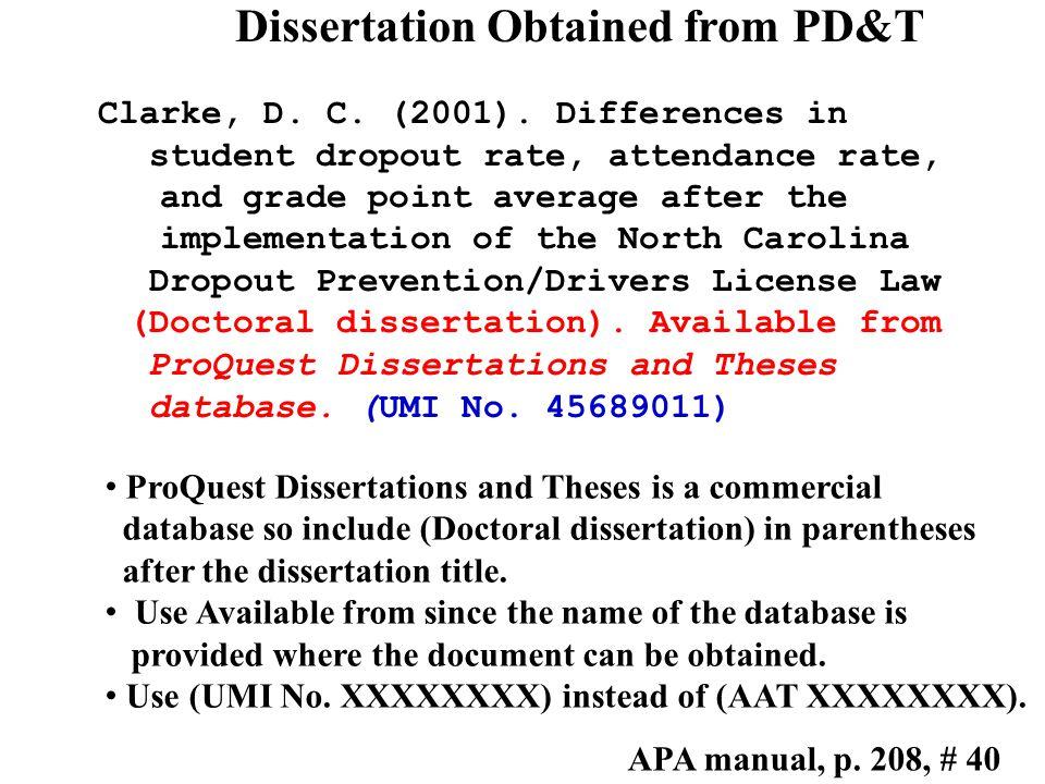 Published dissertation citation – 5 th ed. Clarke, D.