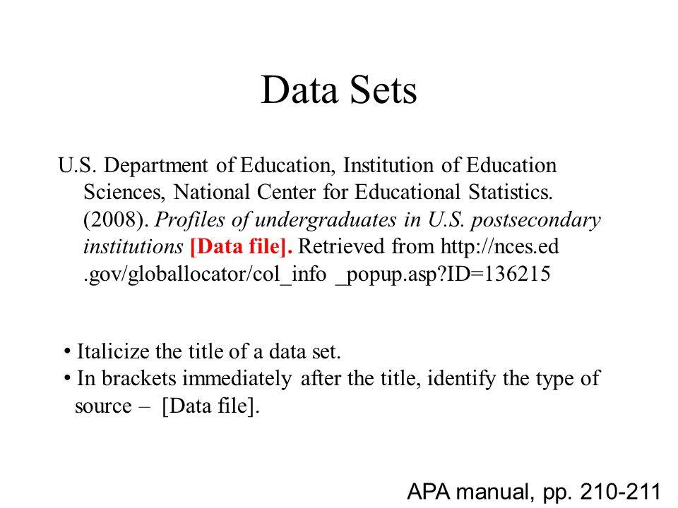 Data Sets U.S.