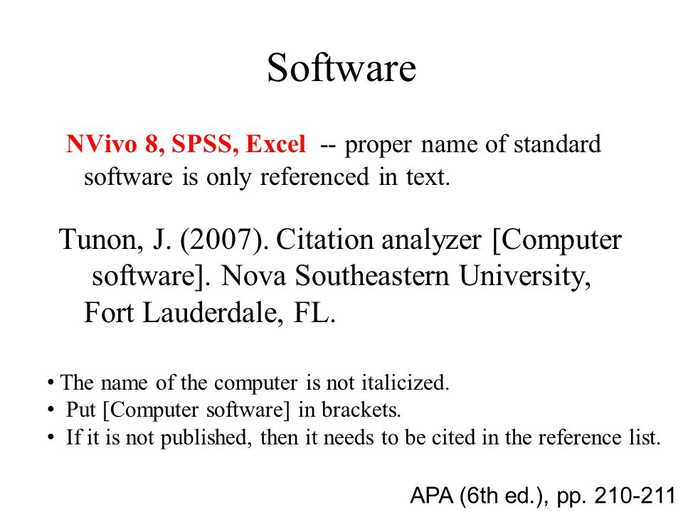 Software NVivo 8, SPSS, Excel -- proper name of standard software is only referenced in text.