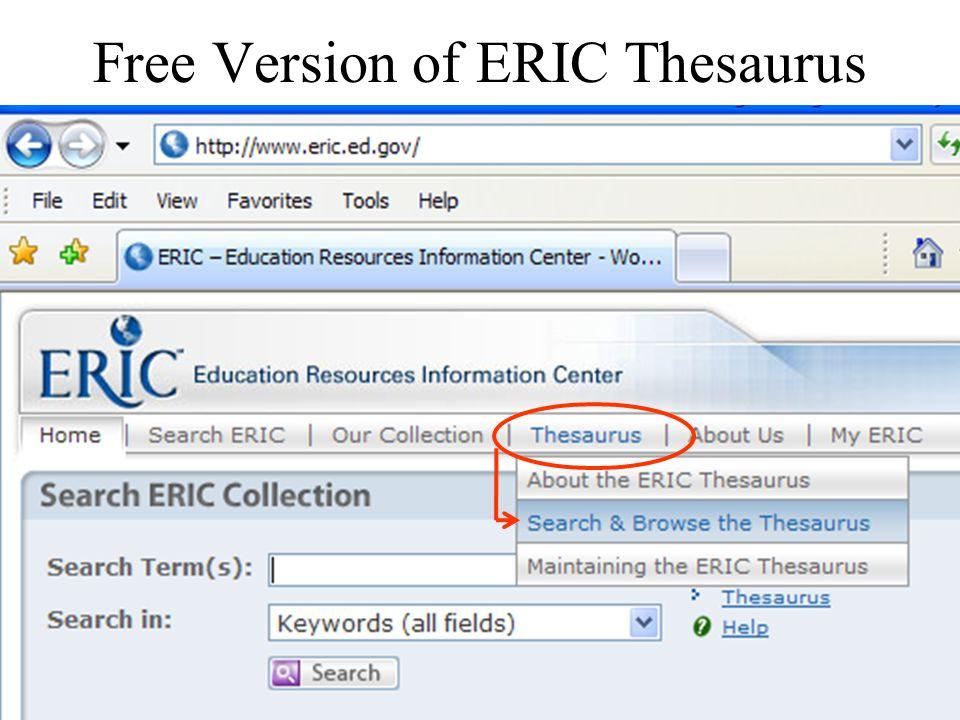 Free Version of ERIC Thesaurus