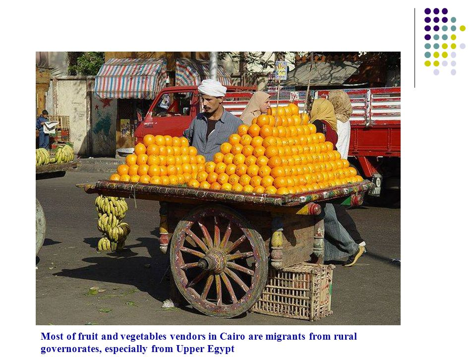 Most of fruit and vegetables vendors in Cairo are migrants from rural governorates, especially from Upper Egypt