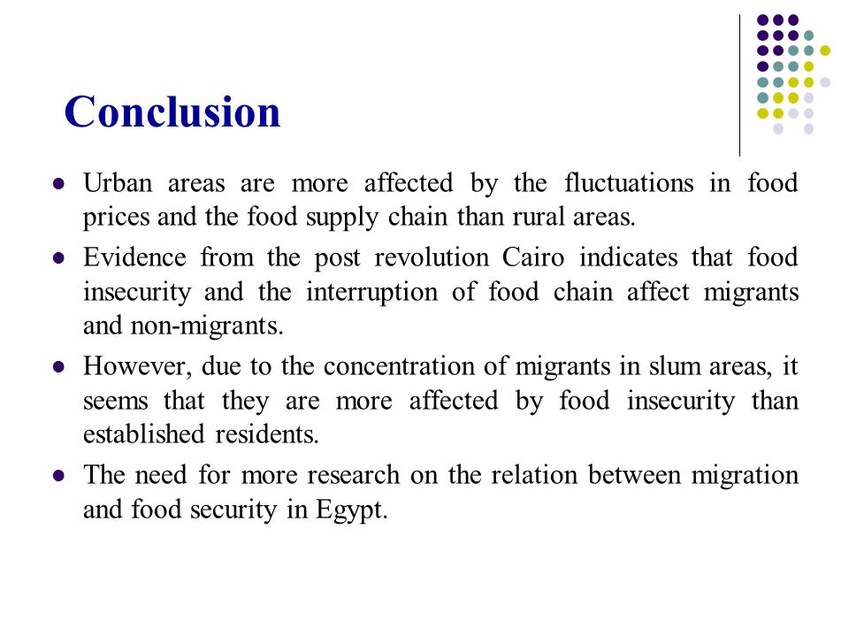 Conclusion Urban areas are more affected by the fluctuations in food prices and the food supply chain than rural areas.