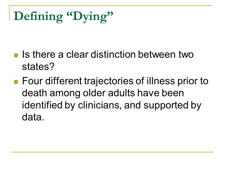 Defining Dying Is there a clear distinction between two states.