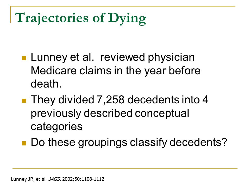 Trajectories of Dying Lunney et al. reviewed physician Medicare claims in the year before death.
