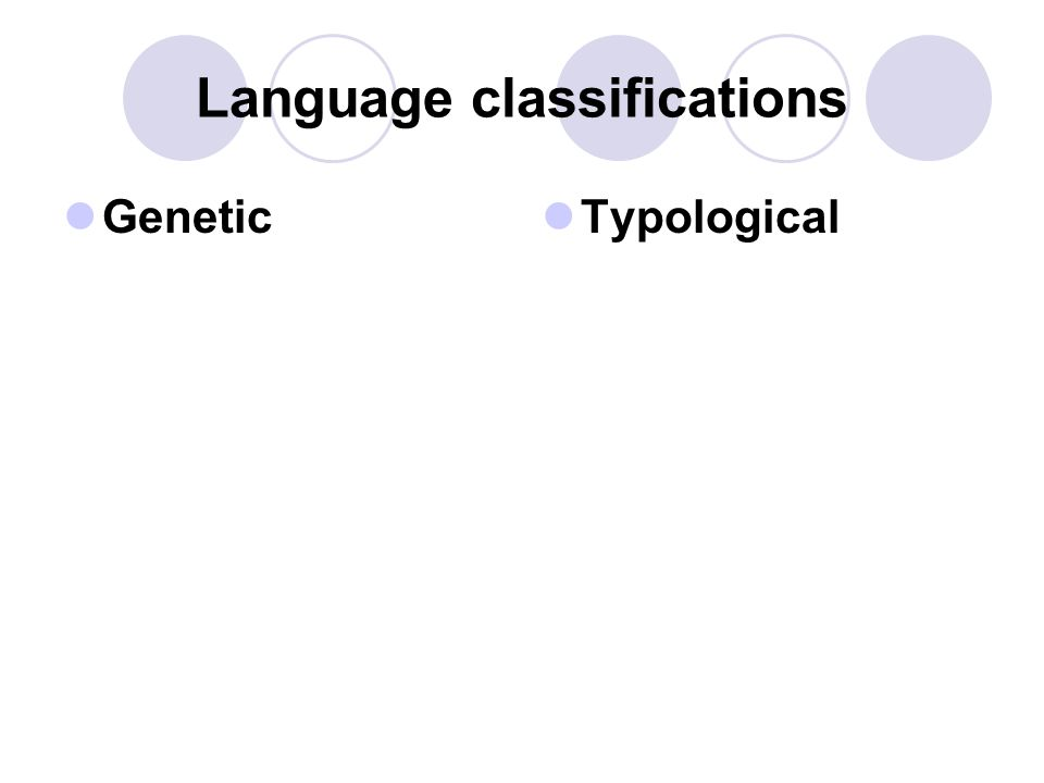 Language classifications Genetic Typological